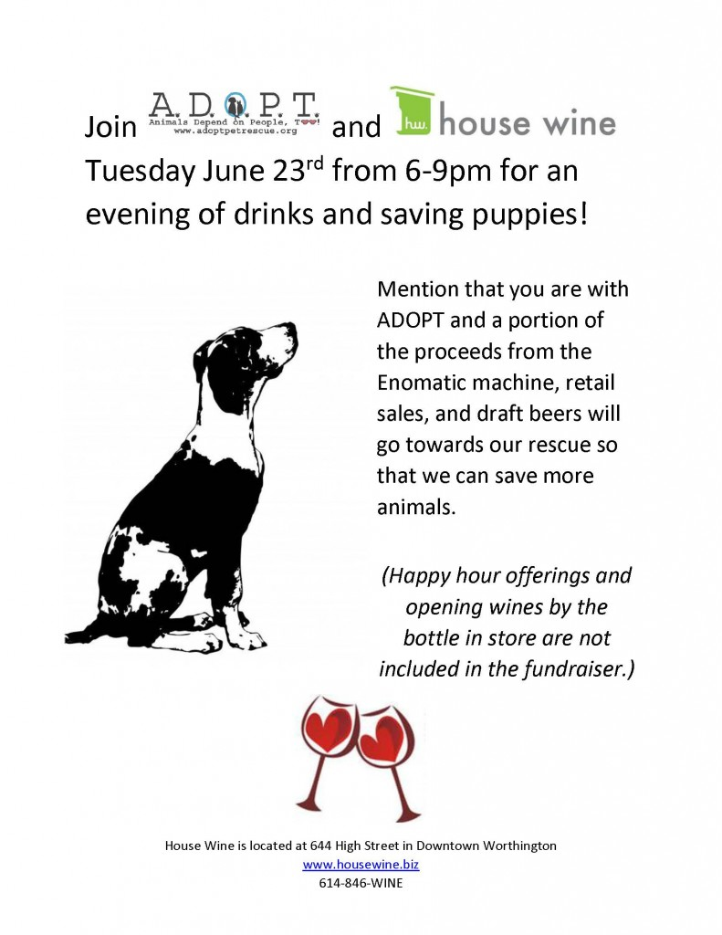 house wine flier